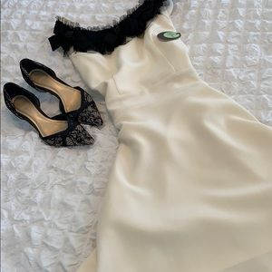 Eva Franco Off White Fit & Flare Dress, Size 8